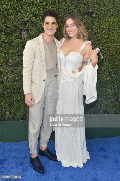 Darren Criss and Mia Swier attend the 24th annual Critics' Choice Awards at Barker Hangar on January 13 2019 in Santa Monica California