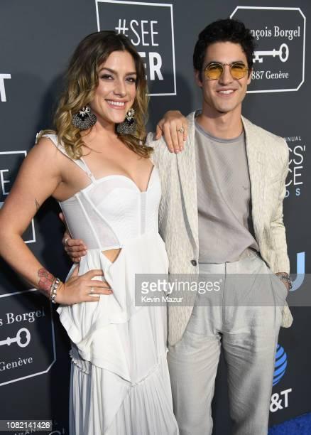 Darren Criss and Mia Swier attend the 24th annual Critics' Choice Awards at Barker Hangar on January 13 2019 in Santa Monica California