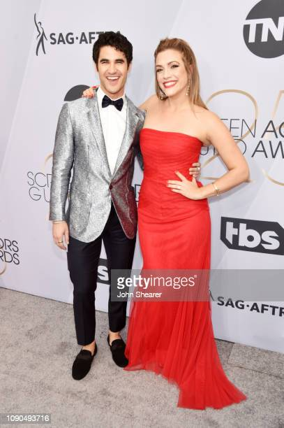 Darren Criss and Mia Swier attend the 25th Annual Screen ActorsGuild Awards at The Shrine Auditorium on January 27 2019 in Los Angeles California