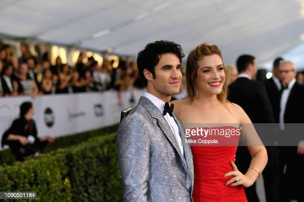 Darren Criss and Mia Swier attend the 25th Annual Screen ActorsGuild Awards at The Shrine Auditorium on January 27 2019 in Los Angeles California...