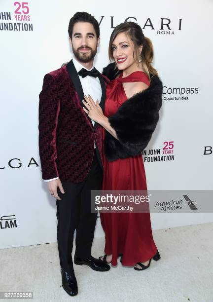 Darren Criss and Mia Swier attend the 26th annual Elton John AIDS Foundation Academy Awards Viewing Party sponsored by Bulgari celebrating EJAF and...