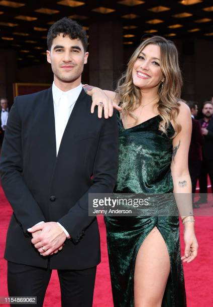 Darren Criss and Mia Swier attend the 73rd Annual Tony Awards at Radio City Music Hall on June 09 2019 in New York City