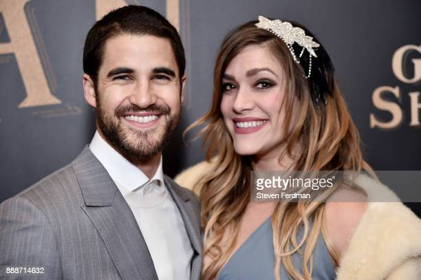 Darren Criss and Mia Swier attend 'The Greatest Showman' World Premiere aboard the Queen Mary 2 at the Brooklyn Cruise Terminal on December 8 2017 in...