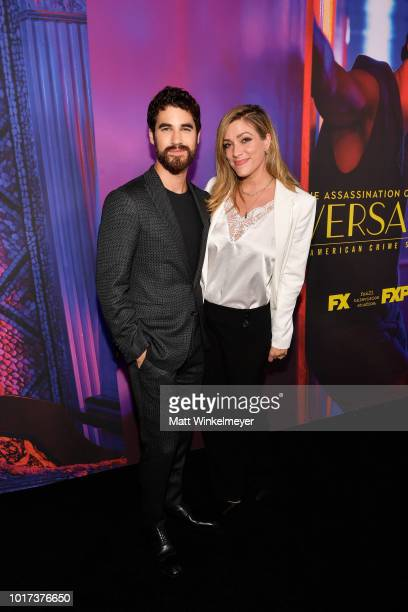 Darren Criss and Mia Swier attend the panel and photo call for FX's The Assassination of Gianni Versace American Crime Story at Los Angeles County...