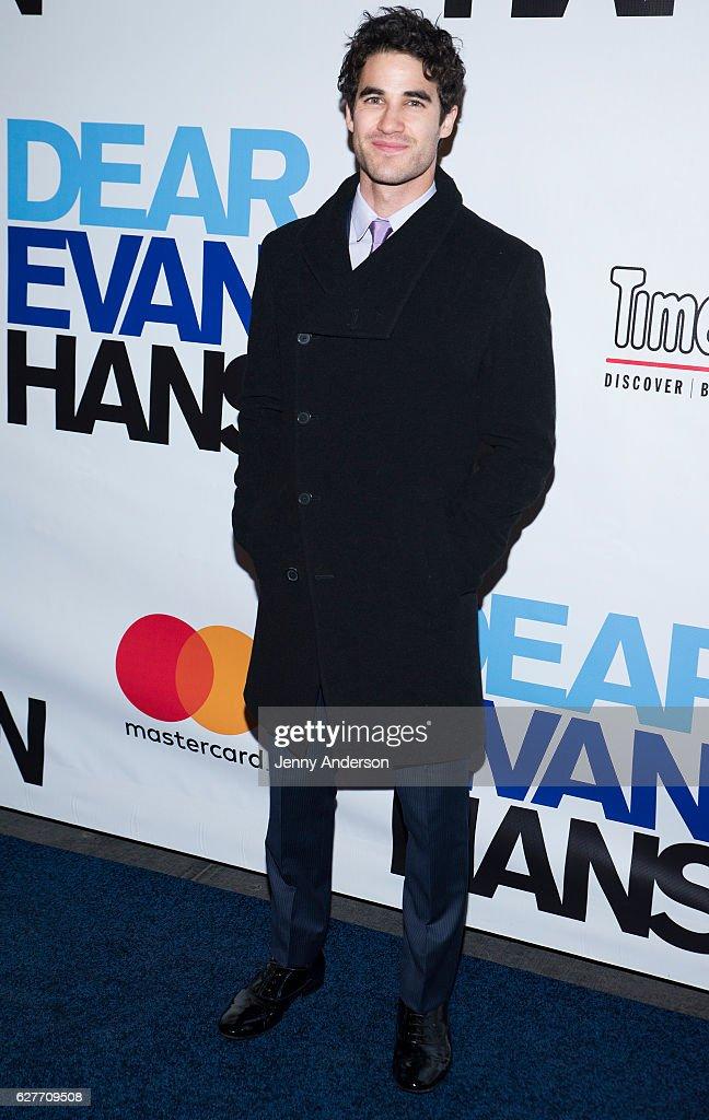 Darren Criss attends 'Dear Evan Hansen' opening at Music Box Theatre on December 4, 2016 in New York City.