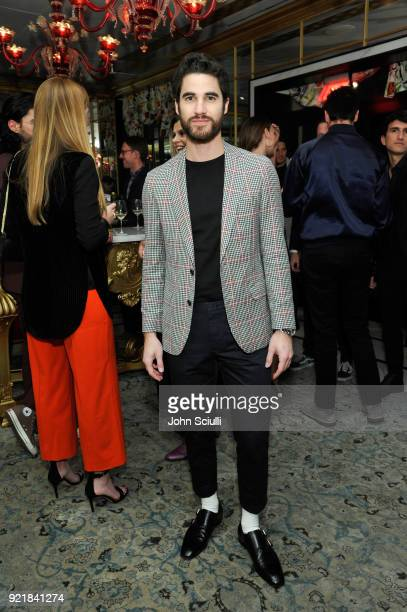 Darren Criss attends GQ and Oliver Peoples Celebrate Timothee Chalamet March Cover Dinner at Nomad Los Angeles on February 20 2018 in Los Angeles...