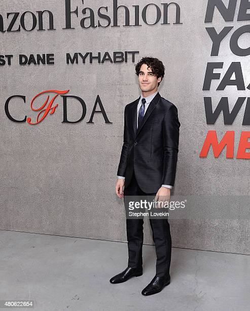 Darren Criss attends New York Men's Fashion Week kick off party hosted by Amazon Fashion and CFDA at Amazon Imaging Studio on July 13 2015 in...