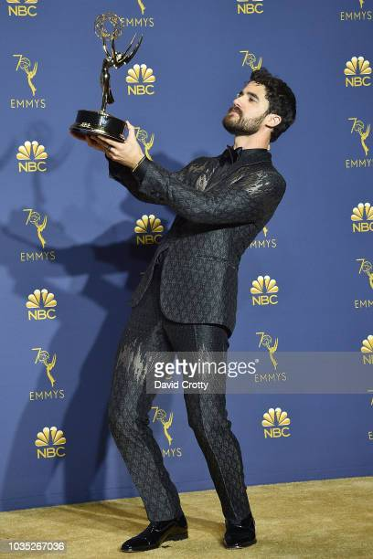 Darren Criss attends the 70th Emmy Awards - Press Room at Microsoft Theater on September 17, 2018 in Los Angeles, California.
