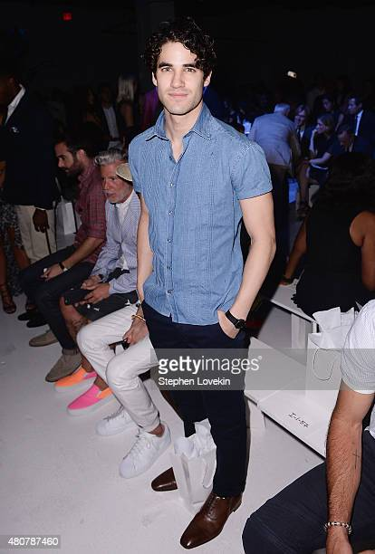 Darren Criss attends the front row at the Michael Bastian fashion show during New York Fashion Week: Men's S/S 2016 at Skylight Clarkson Sq on July...