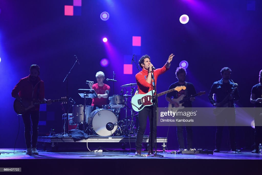 Darren Criss & Computer Games perform on stage during WE Day New York Welcome to celebrate young people changing the world at Radio City Music Hall on April 6, 2017 in New York City.