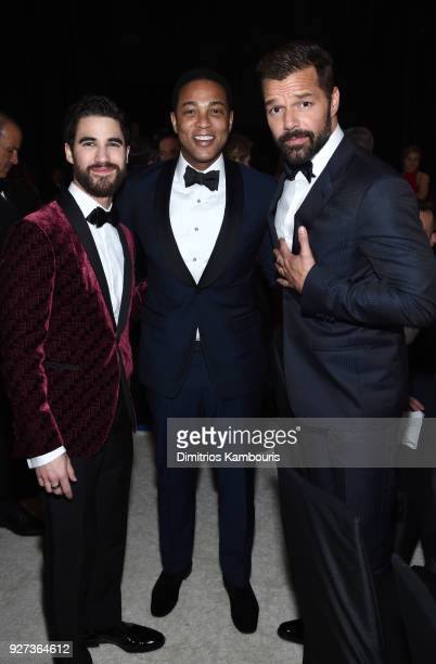 Darren Criss Don Lemon and Ricky Martin attend the 26th annual Elton John AIDS Foundation Academy Awards Viewing Party sponsored by Bulgari...