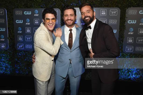 Darren Criss Edgar Ramirez and Ricky Martin attend the 24th annual Critics' Choice Awards at Barker Hangar on January 13 2019 in Santa Monica...