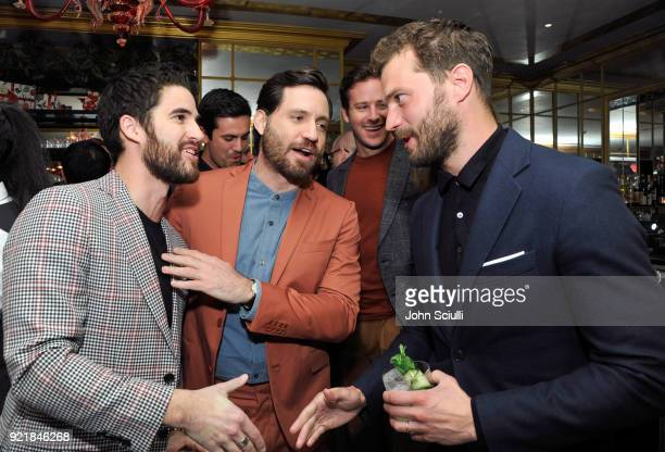 Darren Criss Edgar Ramirez Armie Hammer and Jamie Dornan attend GQ and Oliver Peoples Celebrate Timothee Chalamet March Cover Dinner at Nomad Los...