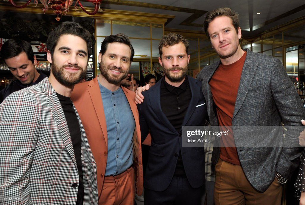 Darren Criss, Edgar Ramirez, Jamie Dornan, and Armie Hammer attend GQ and Oliver Peoples Celebrate Timothee Chalamet March Cover Dinner at Nomad Los Angeles on February 20, 2018 in Los Angeles, California.
