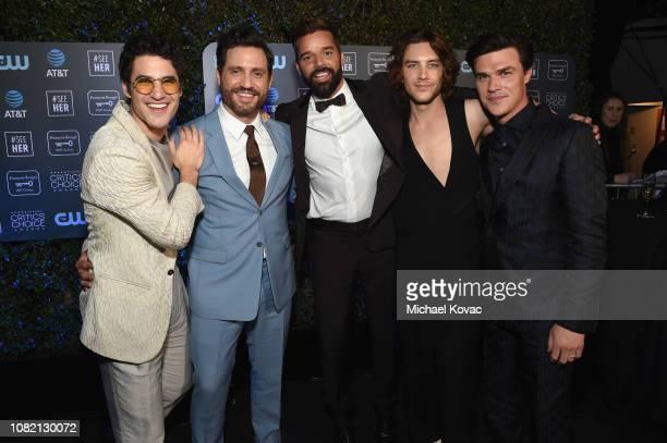 Darren Criss Edgar Ramirez Ricky Martin Cody Fern and Finn Wittrock attend the 24th annual Critics' Choice Awards at Barker Hangar on January 13 2019...