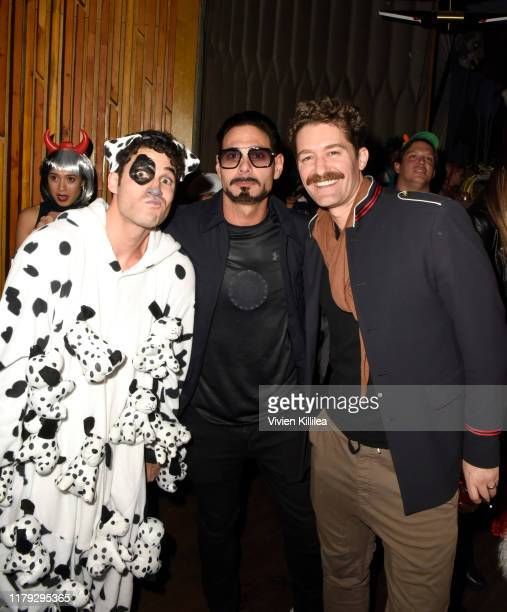 Darren Criss Eric Podwall and Matthew Morrison attend Podwall Entertainment's 10th Annual Halloween Party presented by Maker's Mark on October 31...