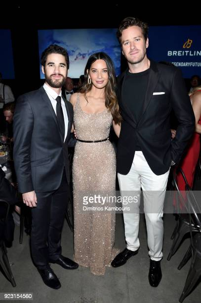 Darren Criss Olivia Munn and Armie Hammer at the Dinner show of the '#LEGENDARYFUTURE' Roadshow 2018 New York on February 22 2018