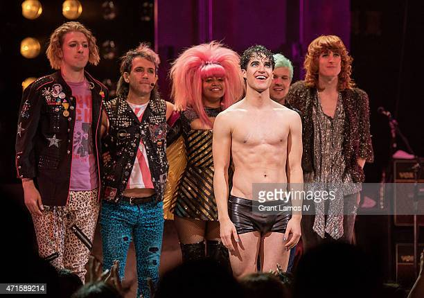 Darren Criss onstage during his debut performance in Broadway's 'Hedwig and the Angry Inch' at Belasco Theatre on April 29 2015 in New York City