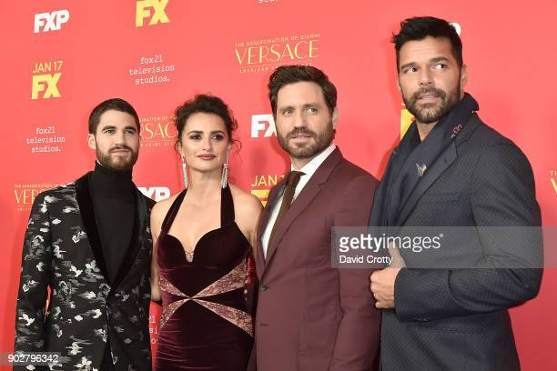 Darren Criss Penelope Cruz Edgar Ramirez and Ricky Martin attend the Premiere Of FX's The Assassination Of Gianni Versace American Crime Story...
