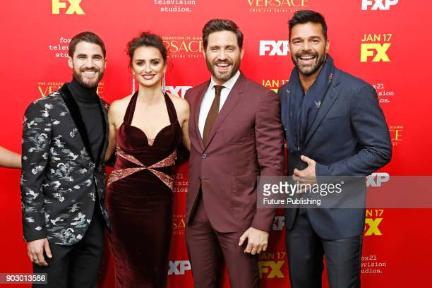 Darren Criss Penelope Cruz Edgar Ramirez and Ricky Martin attend the premiere of FX's 'The Assassination Of Gianni Versace American Crime Story' at...