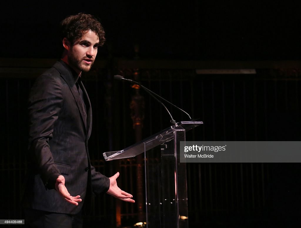 Darren Criss performing at the Dramatists Guild Fund's Gala: 'Great Writers Thank Their Lucky Stars' at Gotham Hall on October 26, 2015 in New York City.