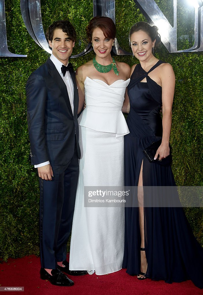 Darren Criss, Sierra Boggess and Laura Osnes attend the 2015 Tony Awards at Radio City Music Hall on June 7, 2015 in New York City.
