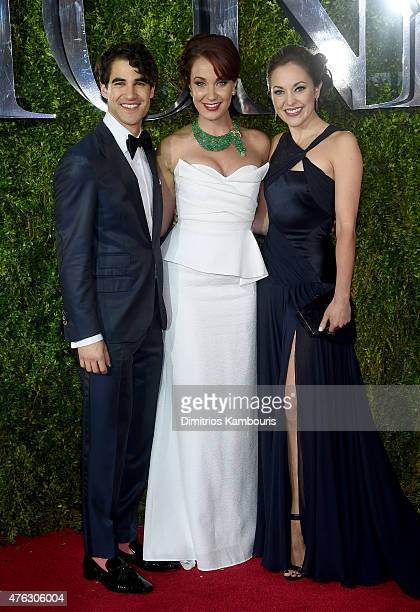 Darren Criss Sierra Boggess and Laura Osnes attend the 2015 Tony Awards at Radio City Music Hall on June 7 2015 in New York City