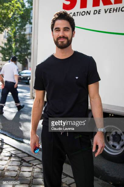 Darren Criss wearing black t shirt and black pants is seen in the streets of Paris after the Dior Homme show during Paris Men's Fashion Week...