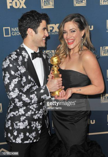 Darren Criss winner of Best Performance by an Actor in a Limited Series or Motion Picture Made for Television and Mia Swier attend the FOX FX and...