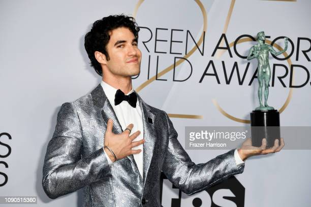 Darren Criss winner of Outstanding Performance by a Male Actor in a Miniseries or Television Movie for 'The Assassination of Gianni Versace' poses in...