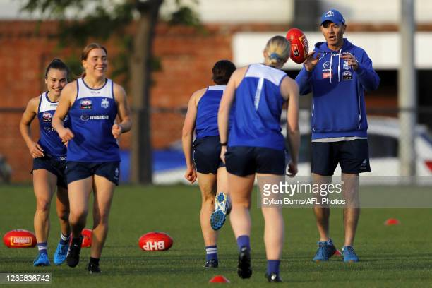Darren Crocker, Head Coach of the Kangaroos is seen during the North Melbourne training session at Arden Street Oval on October 12, 2021 in...