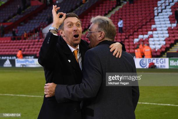 Darren Currie the caretaker manager of Barnet alongside his uncle Tony Currie ex Sheffield United player and club director following Barnet's 10...