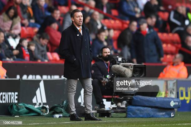 Darren Currie the caretaker manager of Barnet looks on from the sidelines during the FA Cup Third Round match between Sheffield United and Barnet at...