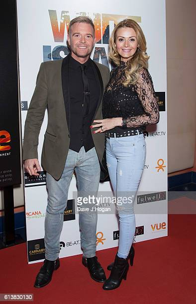 Darren Day and wife Stephanie Dooley attend the film premiere of 'White Island' at Vue Piccadilly on October 10 2016 in London England