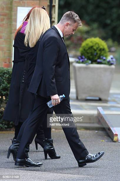 Darren Day arriving at the funeral of David Gest at Golders Green Crematorium on April 29 2016 in London England