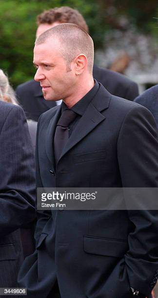 Darren Day leaves the Funeral of Caron Keating following her death from breast cancer last week at Hever Church in Edenbridge on April 20 2004 in...