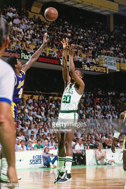 Darren Daye of the Boston Celtics shoots a jump shot against the Los Angeles Lakers during the 1987 NBA Finals at the Boston Garden in Boston...