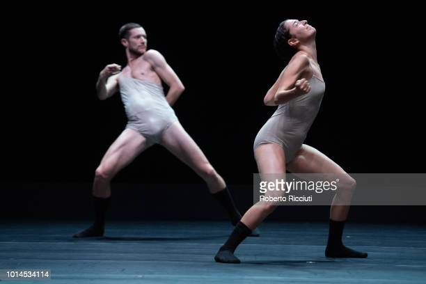 Darren Devaney and Rebecca Hytting of LEV Dance Company perform 'Love Cycle Love Chapter 2' on stage during a photocall for the Edinburgh...