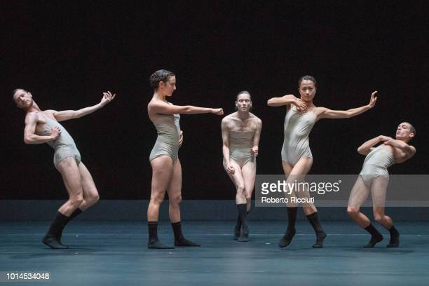 Darren Devaney Keren Lurie Pardes Rebecca Hytting Mariko Kakizaki and Gon Biran of LEV Dance Company perform 'Love Cycle Love Chapter 2' on stage...