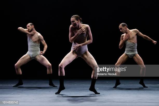 Darren Devaney Rebecca Hytting and Gon Biran of LEV Dance Company perform 'Love Cycle Love Chapter 2' on stage during a photocall for the Edinburgh...