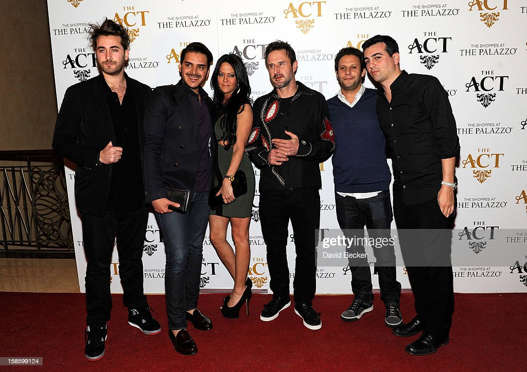 Darren Dzienciol, Marcus Molinari, Allison Melnick, actor David Arquette, Brian Toll and John Terzian arrive at The Act at The Palazzo on December 19, 2012 in Las Vegas, Nevada.