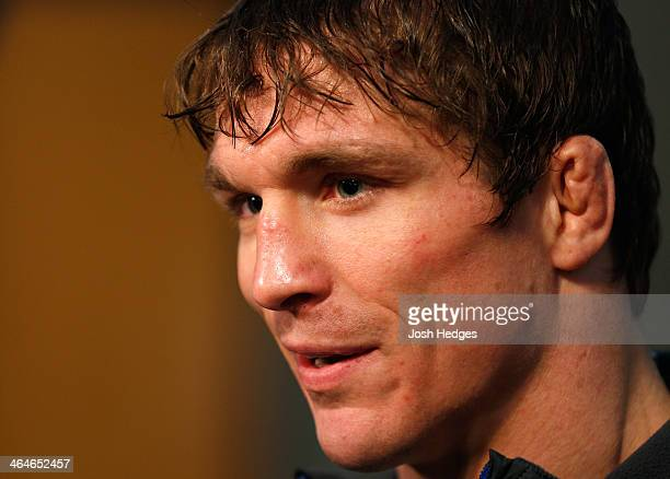 Darren Elkins interacts with media during the FOX UFC Saturday Ultimate Media Day at the United Center on January 23 2014 in Chicago Illinois