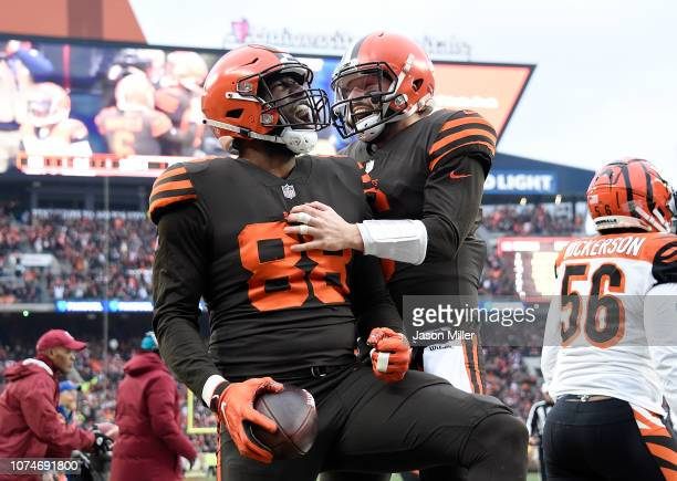 Darren Fells celebrates his touchdown with Baker Mayfield of the Cleveland Browns during the second quarter against the Cincinnati Bengals at...