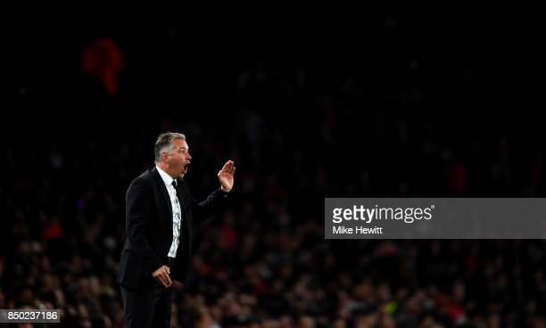 Darren Ferguson manager of Doncaster Rovers gestures to his team during the Carabao Cup Third Round match between Arsenal and Doncaster Rovers at...