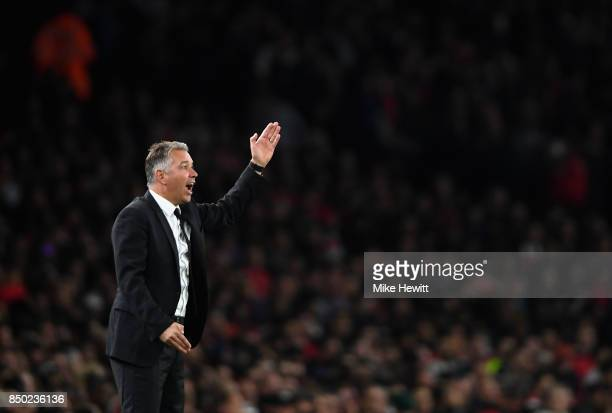 Darren Ferguson manager of Doncaster Rovers gives his team instructions during the Carabao Cup Third Round match between Arsenal and Doncaster Rovers...