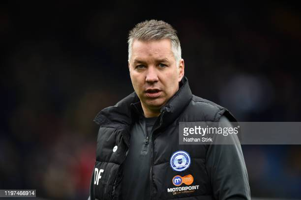 Darren Ferguson, Manager of Peterborough United looks on prior to the FA Cup Third Round match between Burnley FC and Peterborough United at Turf...