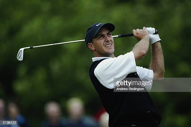 Darren Fichardt of South Africa in action during the final round of the Wales Open on June 1 2003 at the Celtic Manor Hotel and Golf Resort in...
