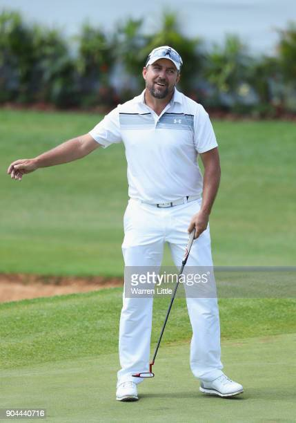 Darren Fichardt of South Africa reacts on the 18th green during day three of the BMW South African Open Championship at Glendower Golf Club on...