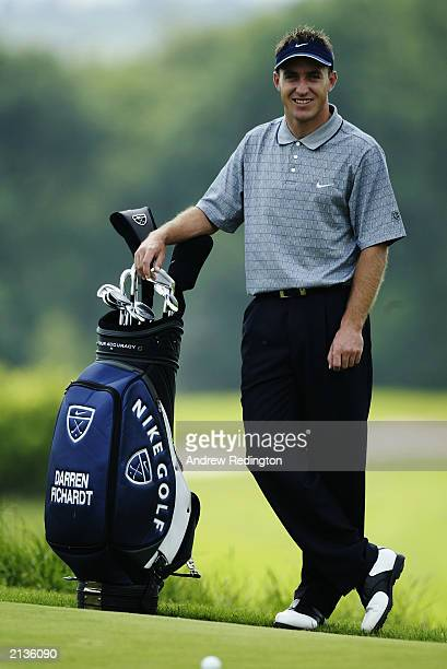 Darren Fichardt of South Africa stands with his Nike bag during the Proam of the Wales Open on May 28 2003 at the Celtic Manor Hotel and Golf Resort...