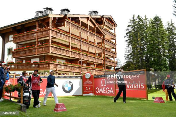 Darren Fichardt of South Africa tees off on the 17th hole during Day Five of the Omega European Masters at CranssurSierre Golf Club on September 10...